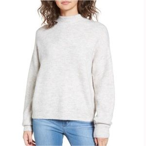 Leith Cozy Mock Neck Ribbed Sweater In Oatmeal Lrg